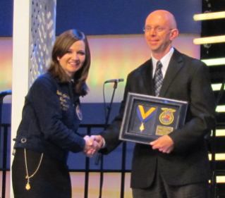Dave Winston received the Honorary American FFA degree at its national convention, held Oct. 19-22 in Indianapolis.