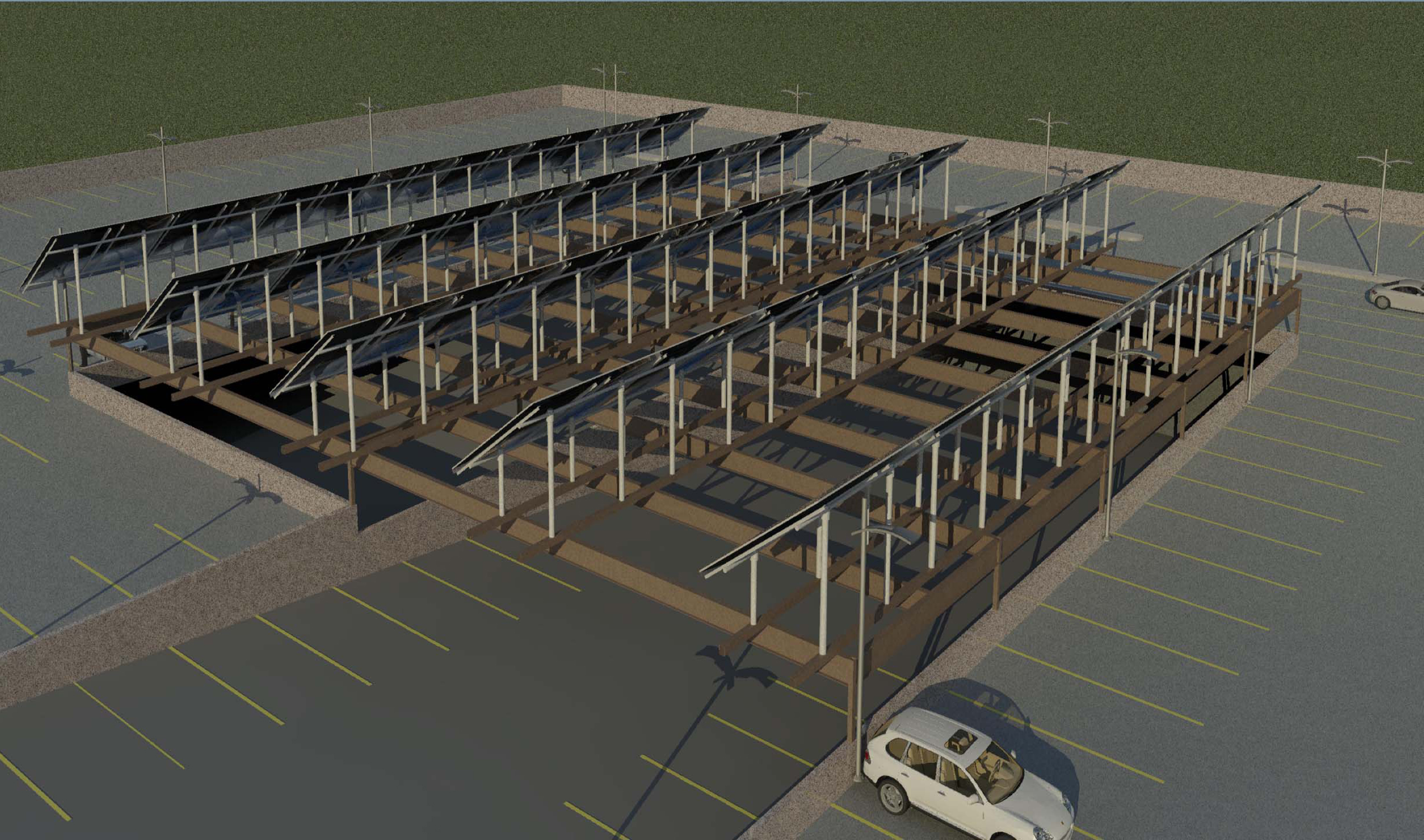 Architectural rendering of the parking deck's roof top solar panel field