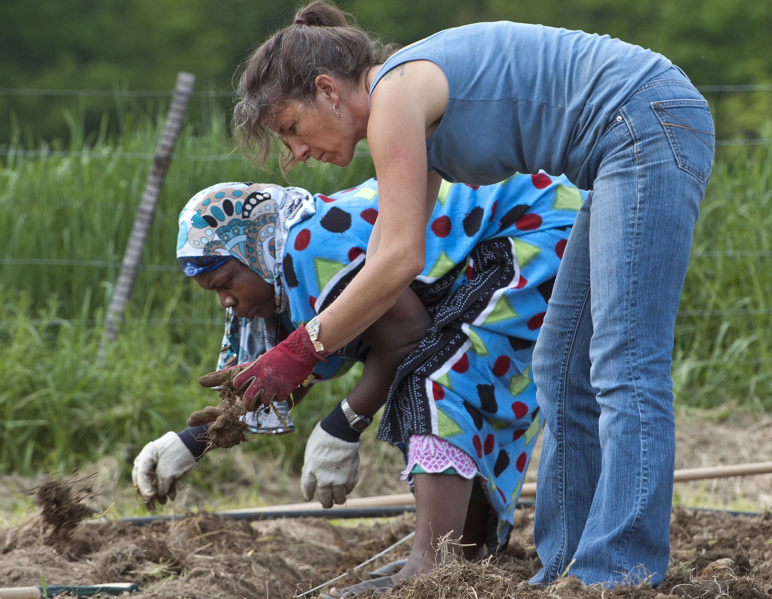 Two people sow seeds at Catawba Sustainability Center.