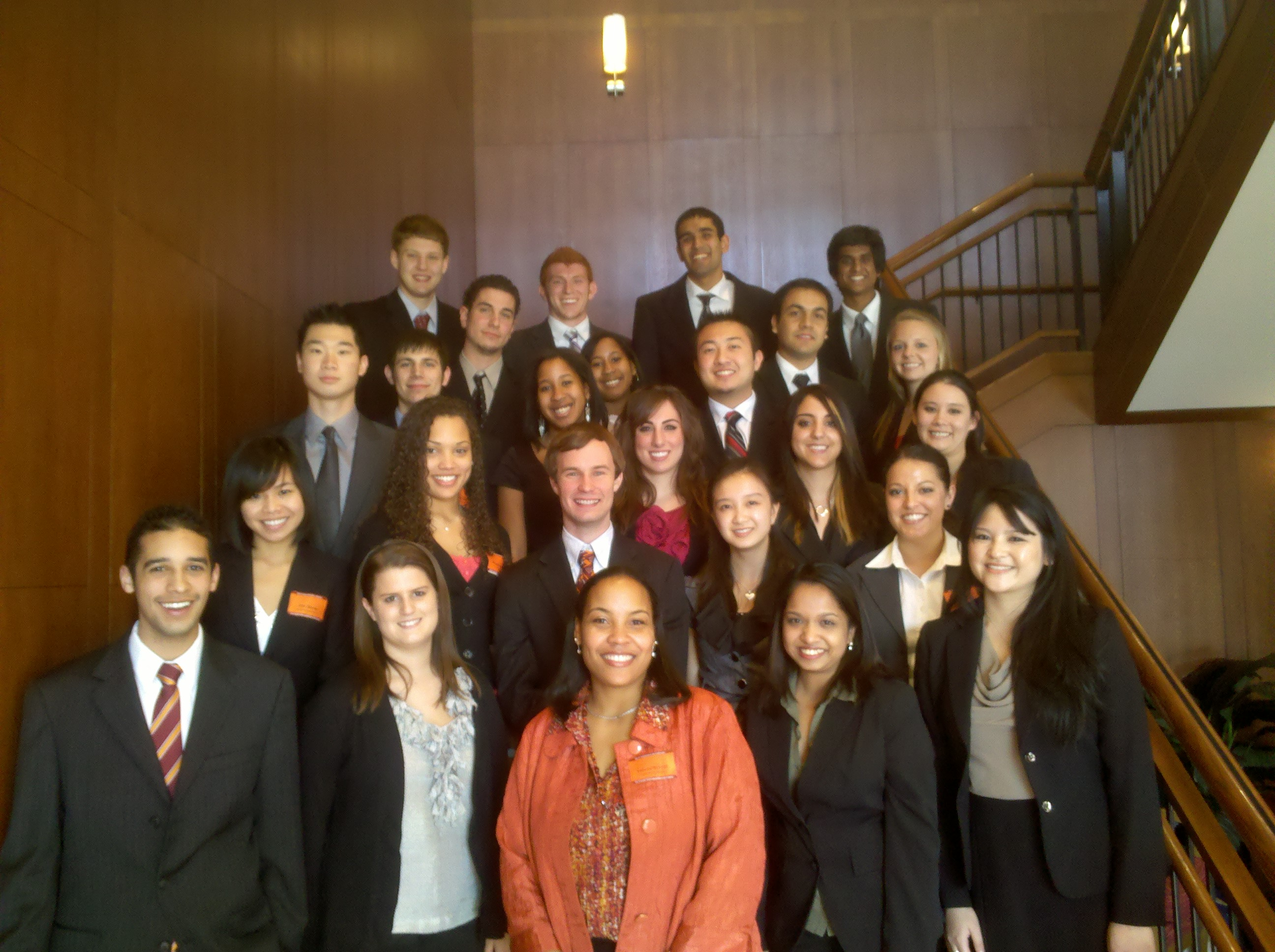 Yalana Orr (front row, third from left) with student members of the Pamplin Multicultural Diversity Council