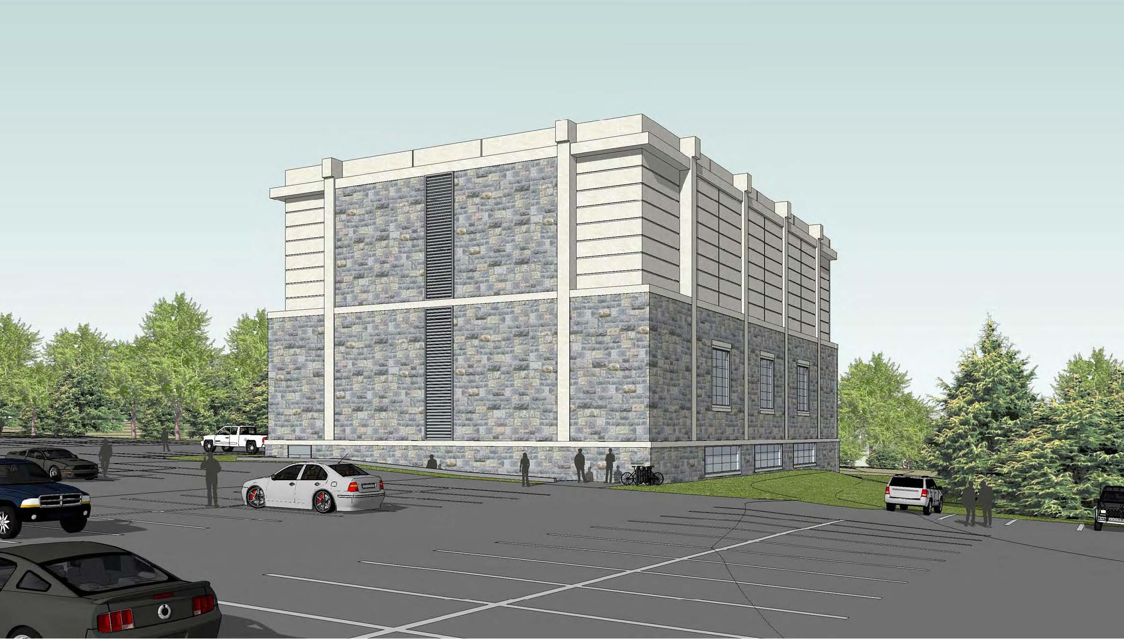 Architectural rendering of the chiller plant under construction behind the Duck Pond parking lot