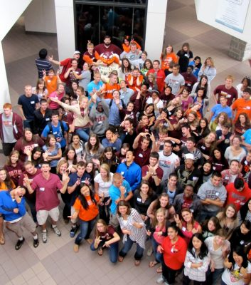 Leadership Tech students gather in the atrium of Squires Student Center.