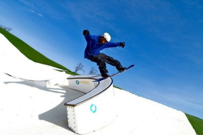 Snowboarder doing tricks