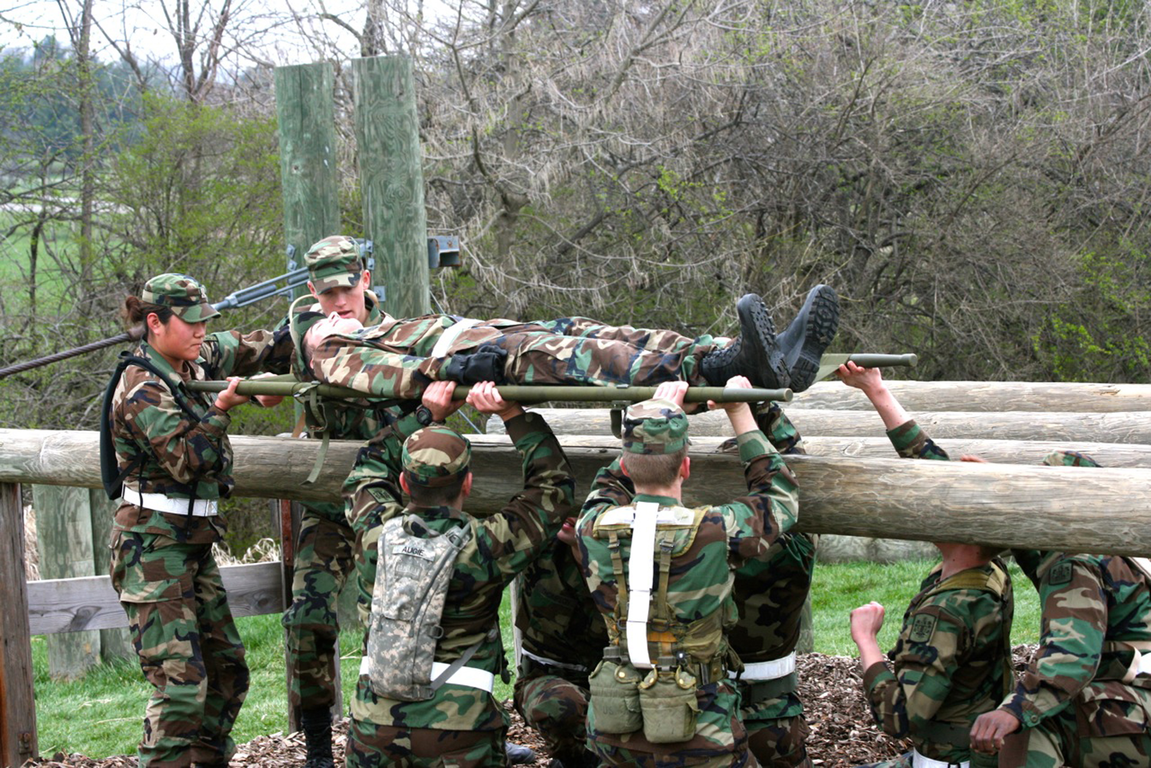 Members of the Virginia Tech Corps of Cadets navigating an obstacle in the Annual Squad Tactical Challenge in 2011
