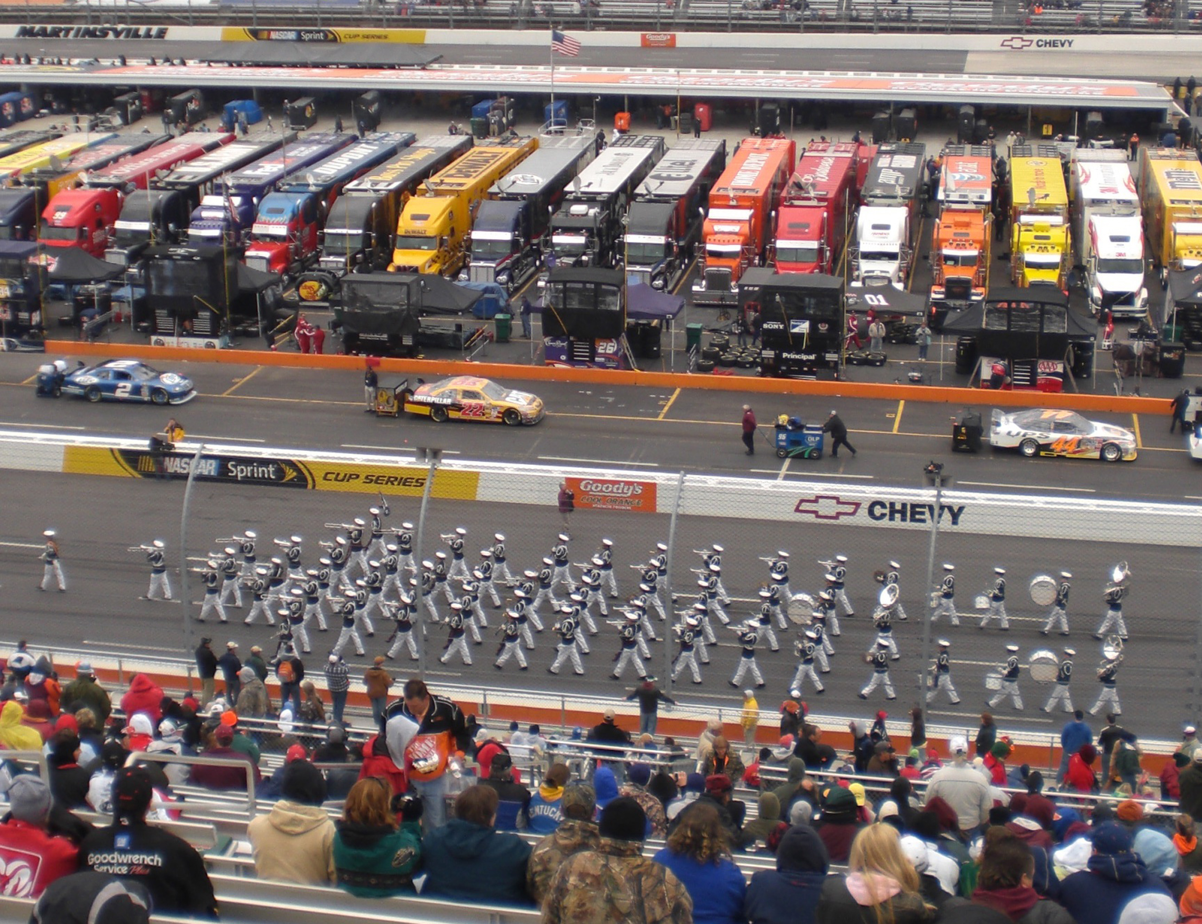 The Virginia Tech Corps of Cadets Regimental Band, the Highty-Tighties, is seen performing at Martinsville Speedway