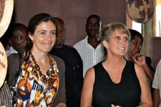 U.S. Ambassador to Botswana Michelle Gavin (left) and Associate Professor Kathleen Alexander at the ceremony marking the opening of the women's craft center in northern Botswana.