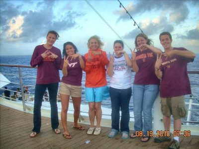 Hokies pose on board the Semester at Sea ships