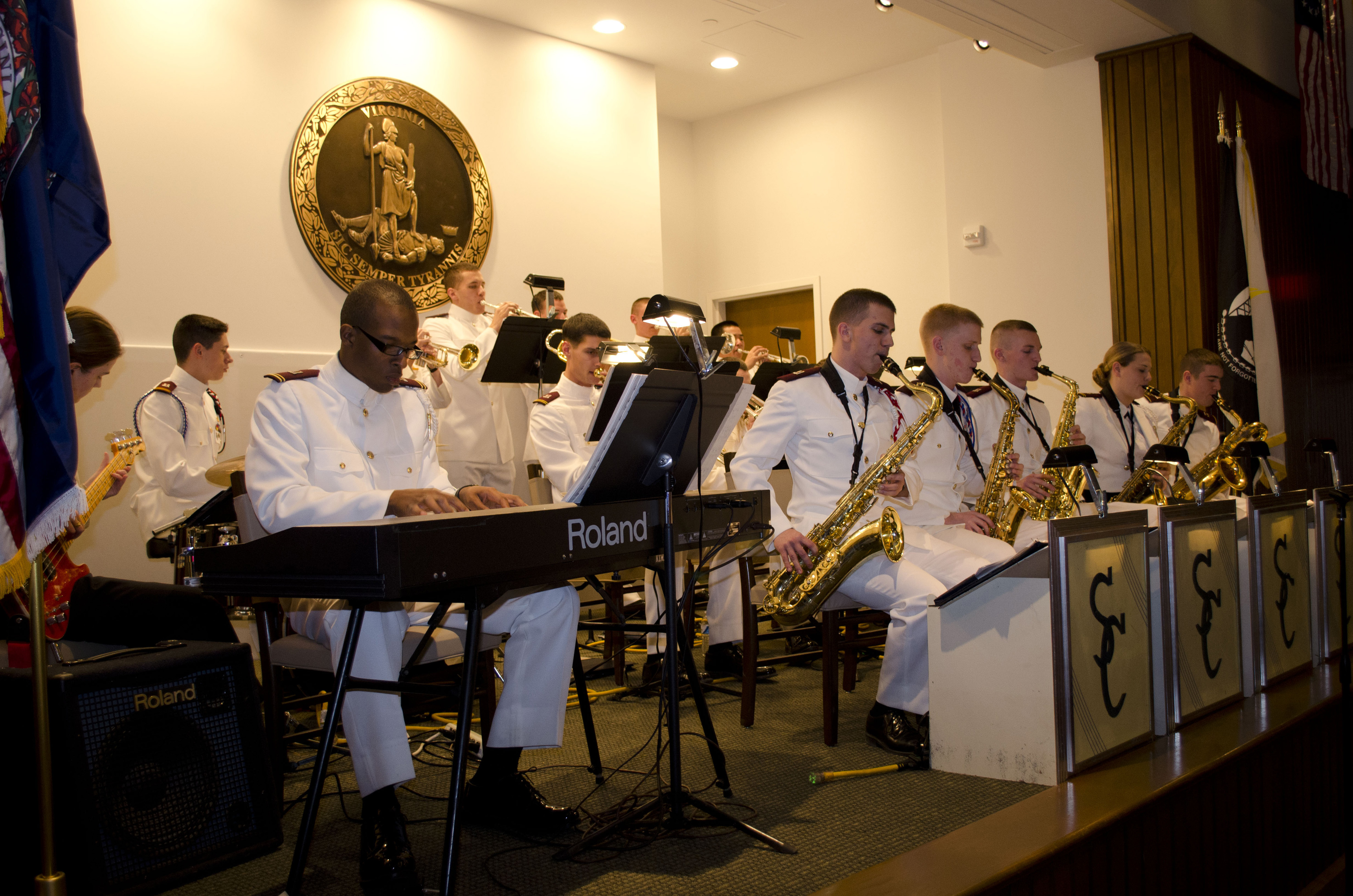 The Southern Colonels, the Virginia Tech Corps of Cadets jazz ensemble, seen performing at a recent event.