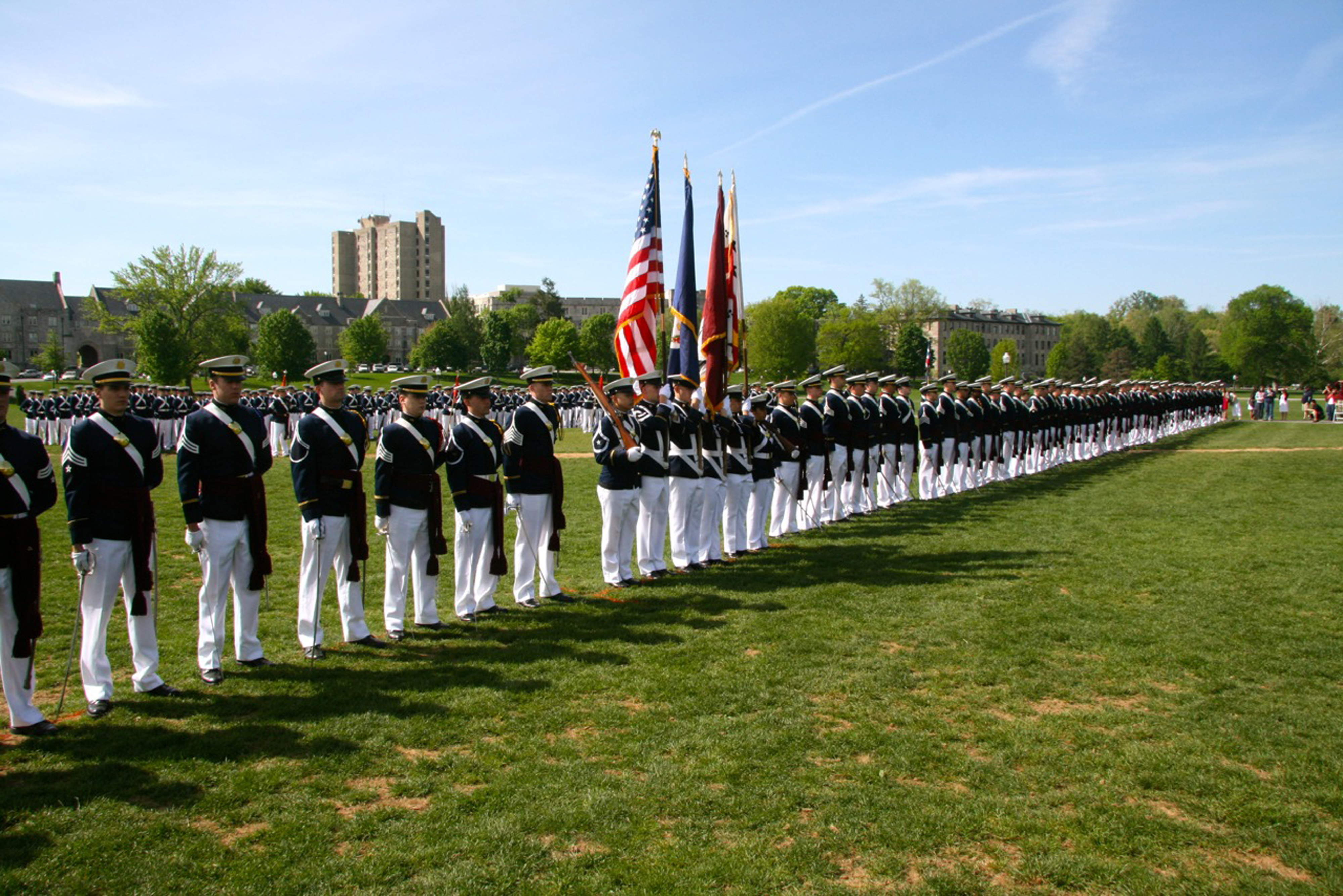 Members of the Virginia Tech Corps of Cadets Class of 2011 are formed up on the Drillfield as they exit the Regiment for the last time during the Change of Command parade last spring