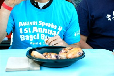 Participants at the Bagel Binge competed in rounds against each other to see who could eat the most bagels in a short amount of time.