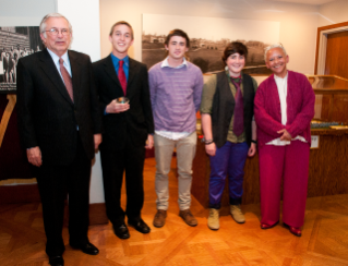 Virginia Tech president and award benefactor Charles W. Steger with the 2012 Steger Poetry Prize winners: first place winner Kyle Gardiner; third place finisher Drew Knapp; and runner-up Mary Swan with internationally renowned Virginia Tech poet Nikki Giovanni.
