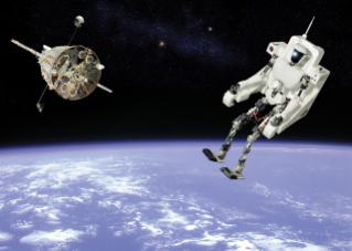 The future of space exploration may rely on robots as well as humans. Virginia Tech's prized humanoid robot, CHARLI, was kind enough to venture into space for us. The background image is courtesy of NASA. The photo illustration is by Jim Stroup, who also constructed CHARLI's jet pack.