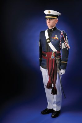 "Cadet Daniel Tolbert in the Virginia Tech Corps of Cadets' ""Dress A"" uniform"