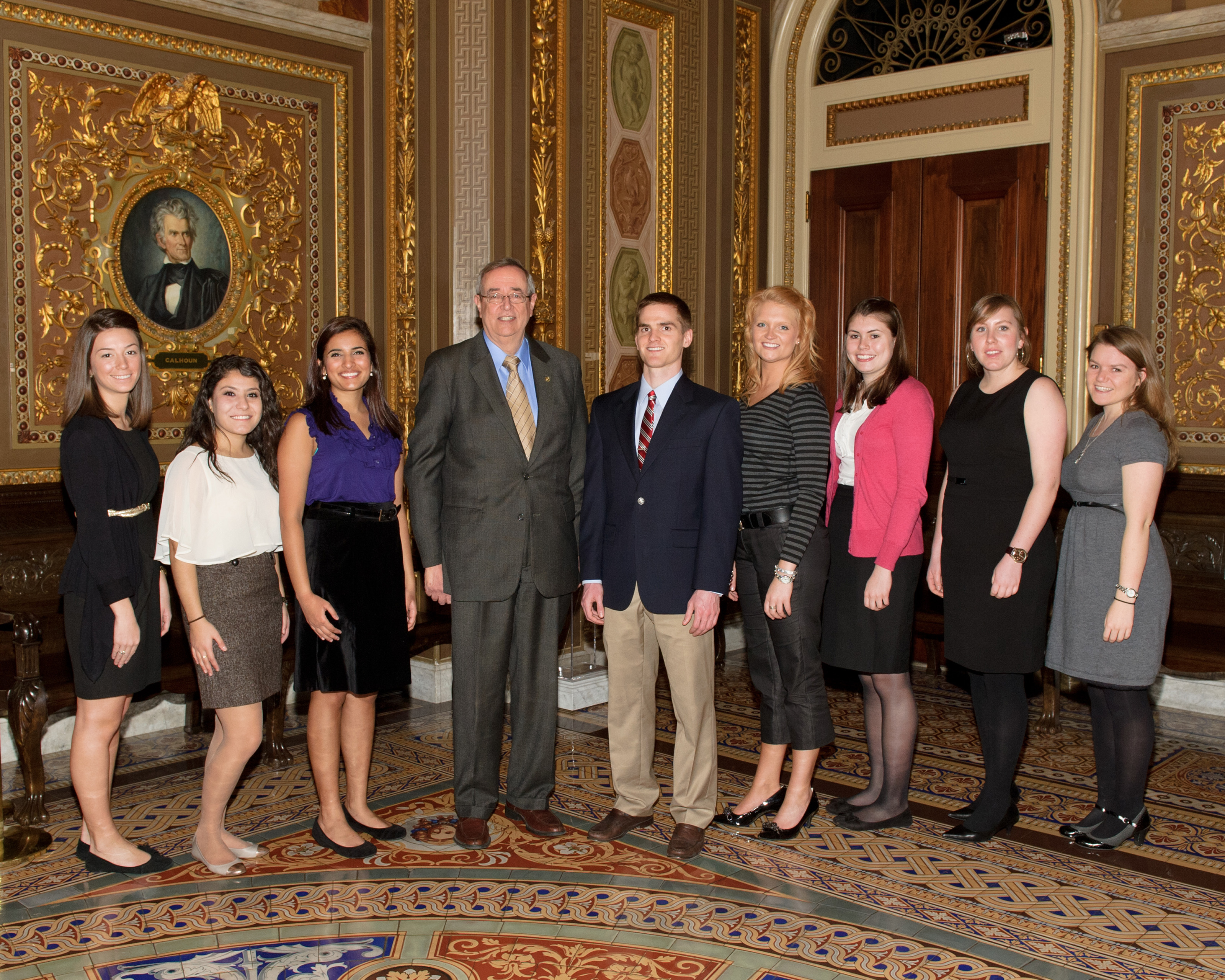 Eight Virginia Tech students with U. S. Senate Historian Don Ritchie