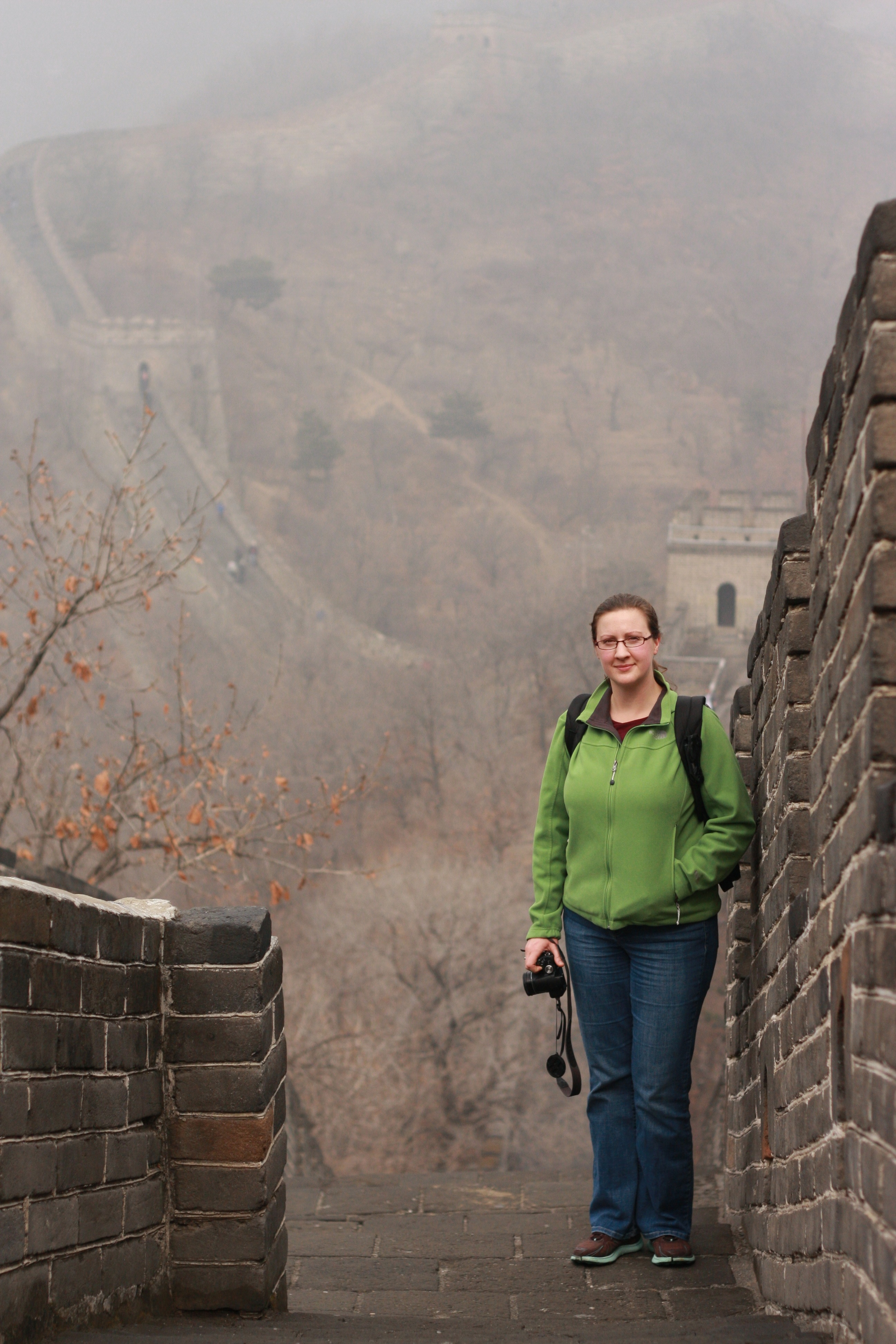 Danielle Williams standing on China's Great Wall.