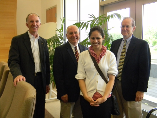 Left to right: Joe Meredith, president of the Virginia Tech Corporate Research Center; Jim Flowers, executive director of VT KnowledgeWorks; Kara Johnson of ACESS; and Dick Daugherty, director of strategic services for VT KnowledgeWorks.  Not pictured:  Nate Mason of ACESS.