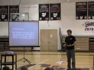 Virginia Tech graduate student Shane McCarty gives a presentation on Actively Caring for People at Chardon High School.