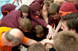 Virginia Tech's swimming and diving teams participate in team building exercises.