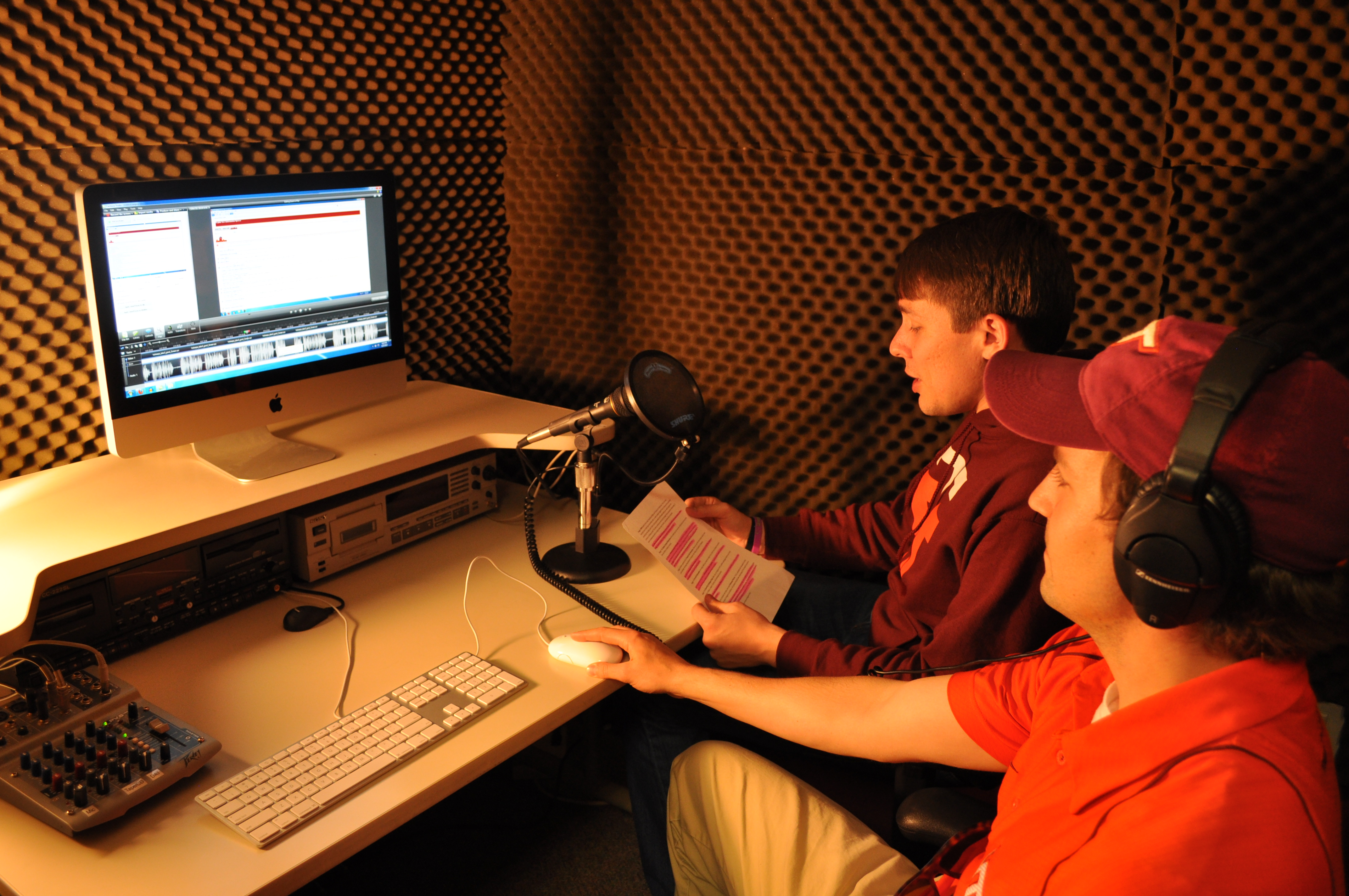 Noah Schoenholtz, near, and Josh Thompson, narrate the Hokie SPA tutorial video.