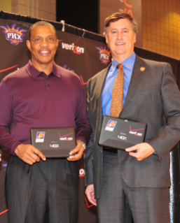 As president of the NBA's Phoenix Suns, Virginia Tech alumnus Brad Casper (right) -- pictured with Suns' head coach Alvin Gentry -- oversees business and non-basketball operations for the franchise. Image courtesy of Barry Gossage, NBA Photos.