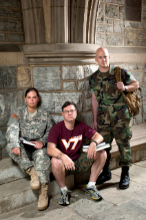 Virginia Tech and its student veterans -- including, from left, Jadee Ragland, Grayson Chretien, and Eric Hodges, who are among the nearly 200 enrolled at Tech -- are tackling the unique challenges that veterans can face on a college campus.