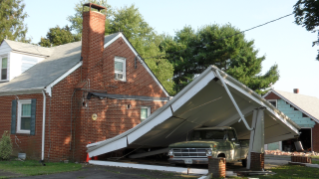 Russell Green of the College of Engineering took this photo of earthquake damage to home and other property in Louisa County.