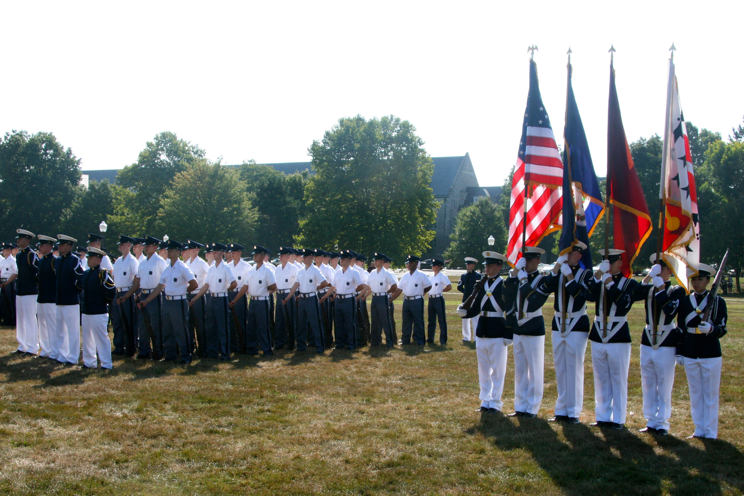 The Virginia Tech Corps of Cadets New Cadet Parade each August welcomes the new Corps of Cadets members, shown on the Drillfield, as they officially join the Regiment