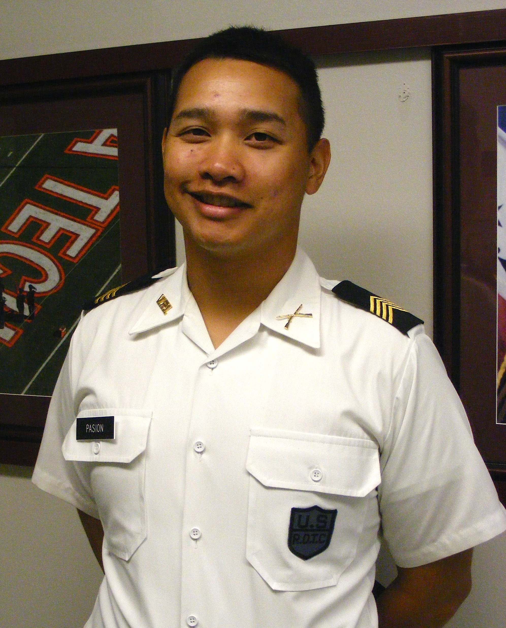 Cadet Capt. Jonas Pasion stands in Brodie Hall.