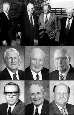 Top row: Daniel W. Brubaker, Galen B. Brubaker, E. Cline Brubaker, and R. Emory Brubaker. Middle row: Fred S. Crittenden, Arthur L. (Ike) Eller Jr., and Joseph P. Fontenot. Bottom row: William H. McClure,  J.E. (Buncksey) Poore, and Reginald B. Reynolds.