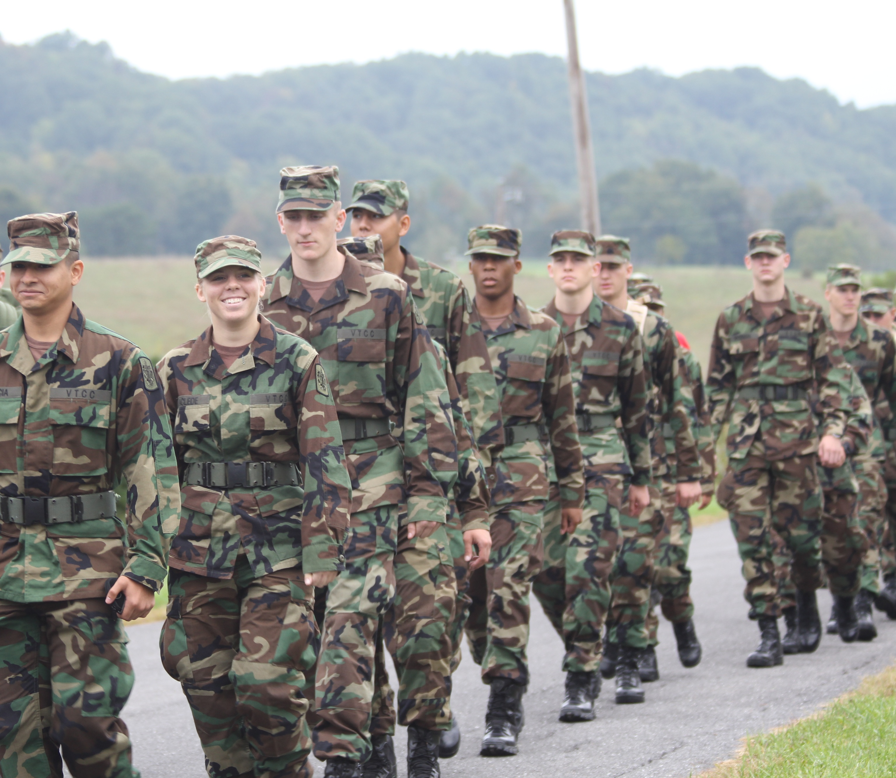 Members of the Virginia Tech Corps of Cadets Class of 2015 on the Fall 2011 Caldwell March in Craig County, Va.