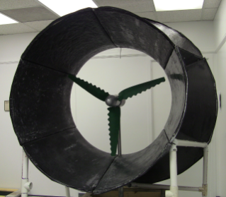 "Ducted wind turbine is part of the ""one windmill per house"" vision and has novel blades, electromagnetic generator, and fiber composites developed at Virginia Tech."