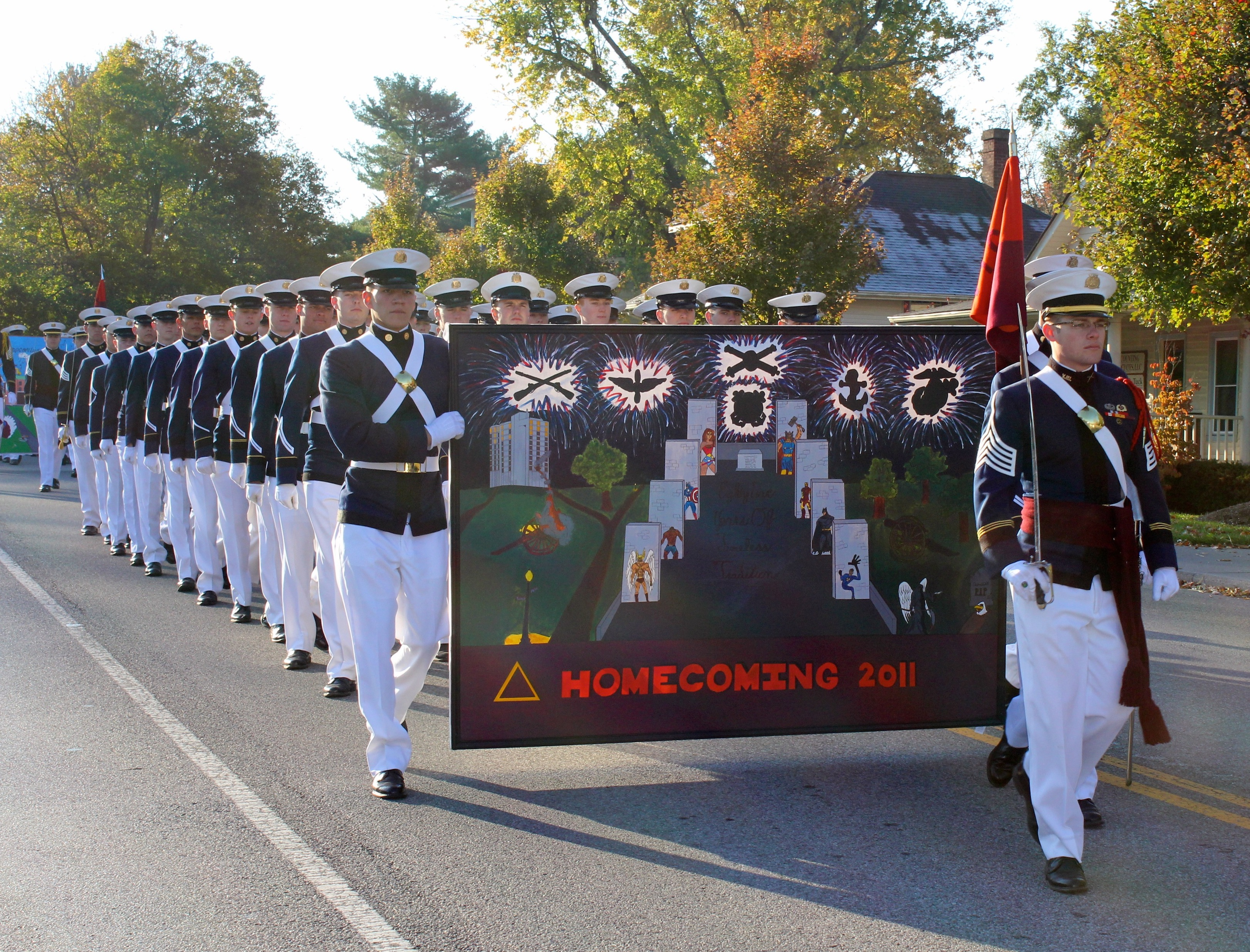 Membersof Delta Company of the Virginia Tech Corps of Cadets march in the 2011 Homecoming parade through downtown Blacksburg.