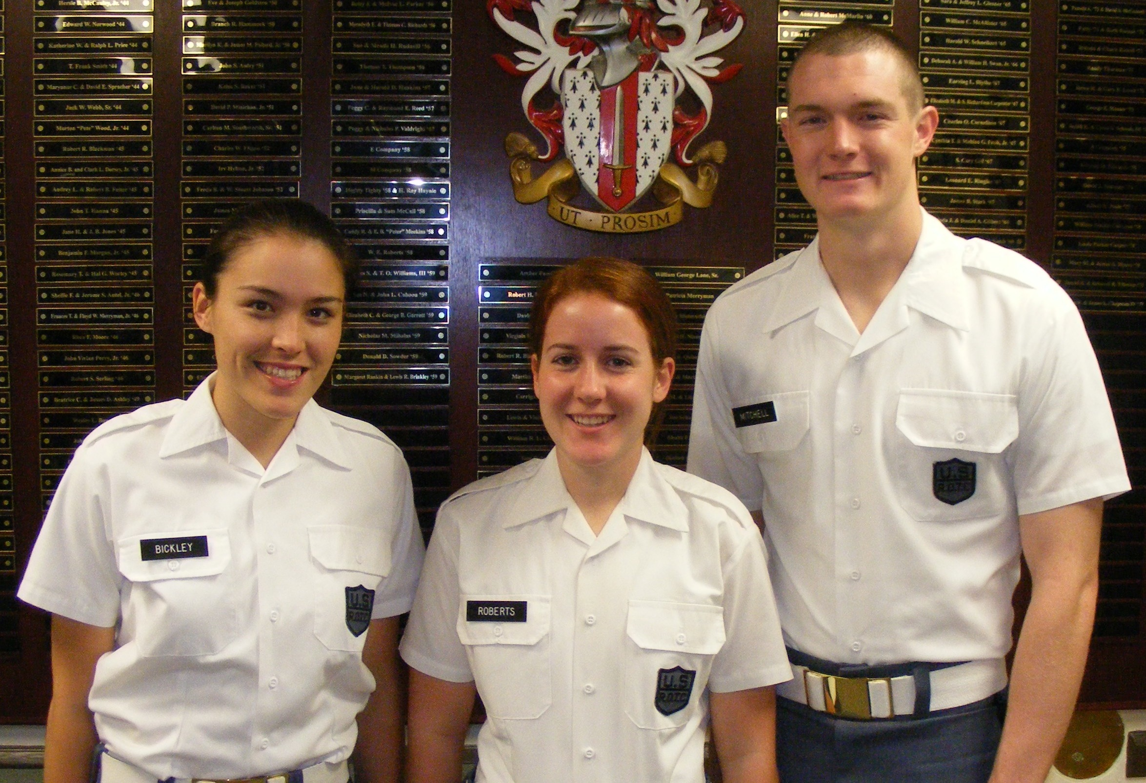 Cadets Amelia Bickley, Leah Roberts, and Carl Mitchell shown in Brodie Hall