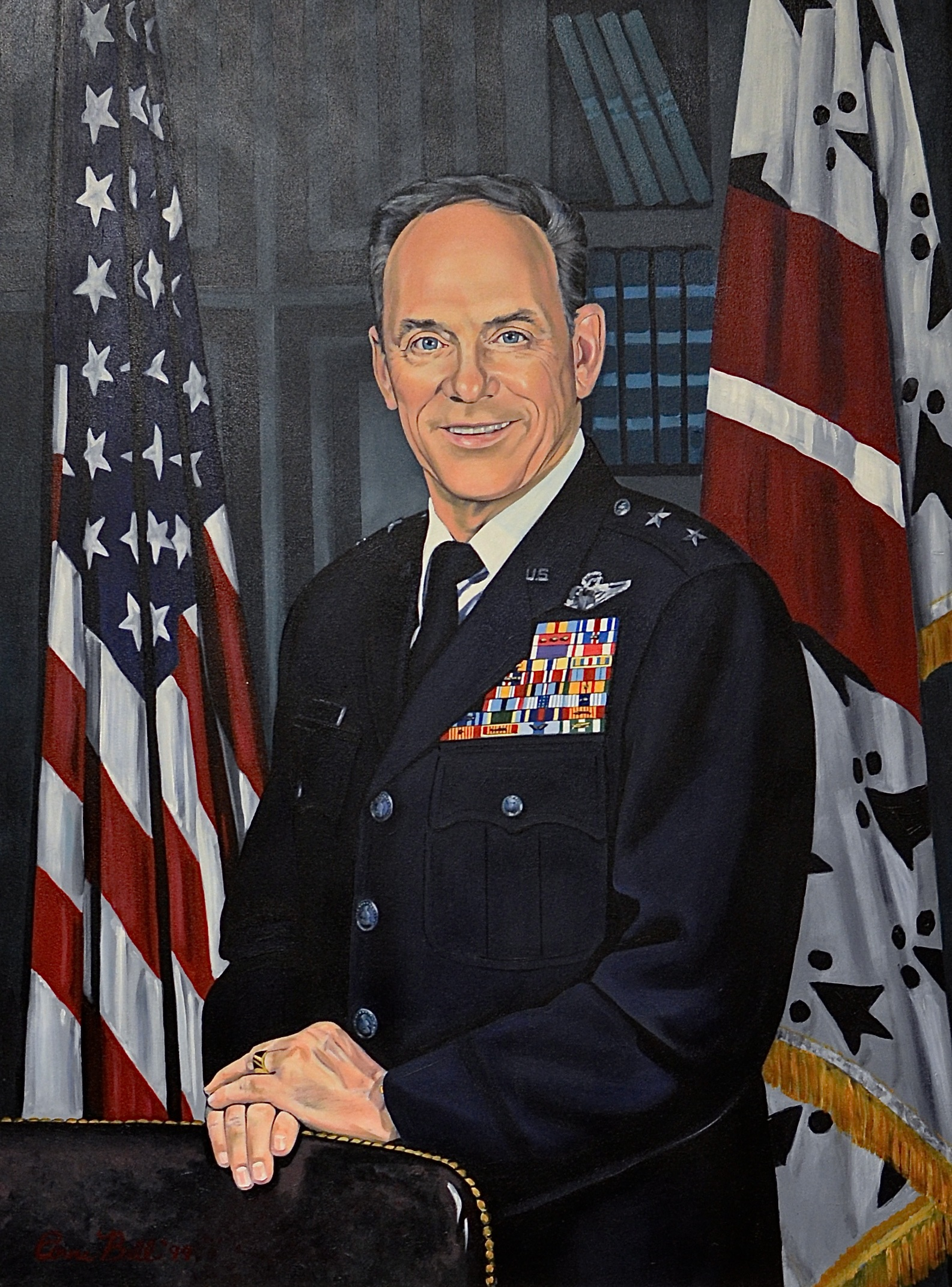 An oil painting of former Commandant Maj. Gen. Stanton Musser which hangs in Brodie Hall, one of the Corps of Cadets dorms.