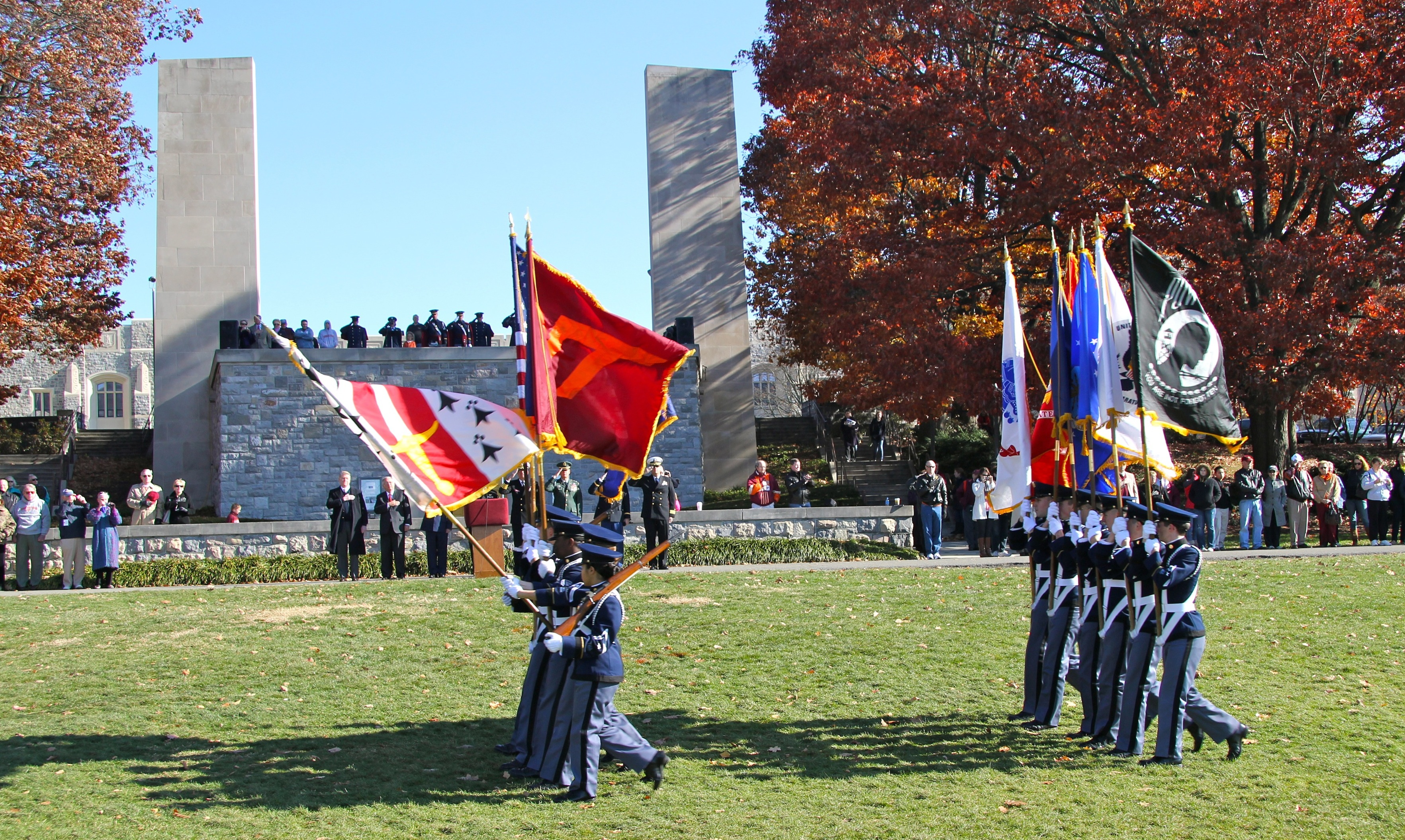 The Virginia Tech Corps of Cadets Color Guard marches in review past the War Memorial Chapel last November.