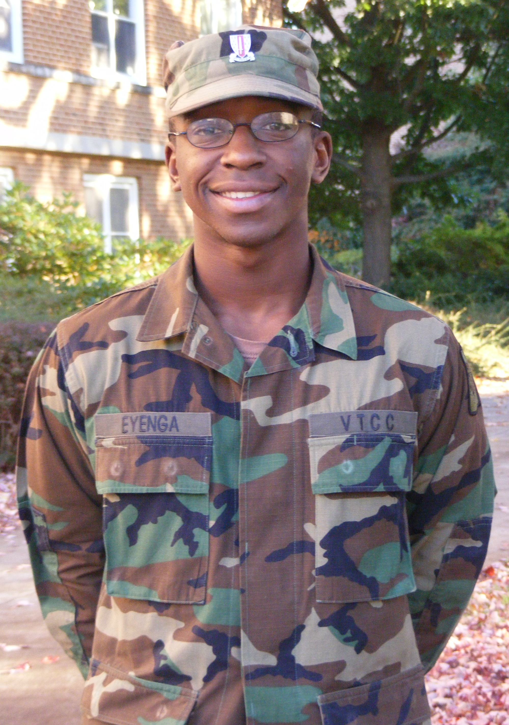Cadet Frank Eyenga stands in front of Brodie Hall