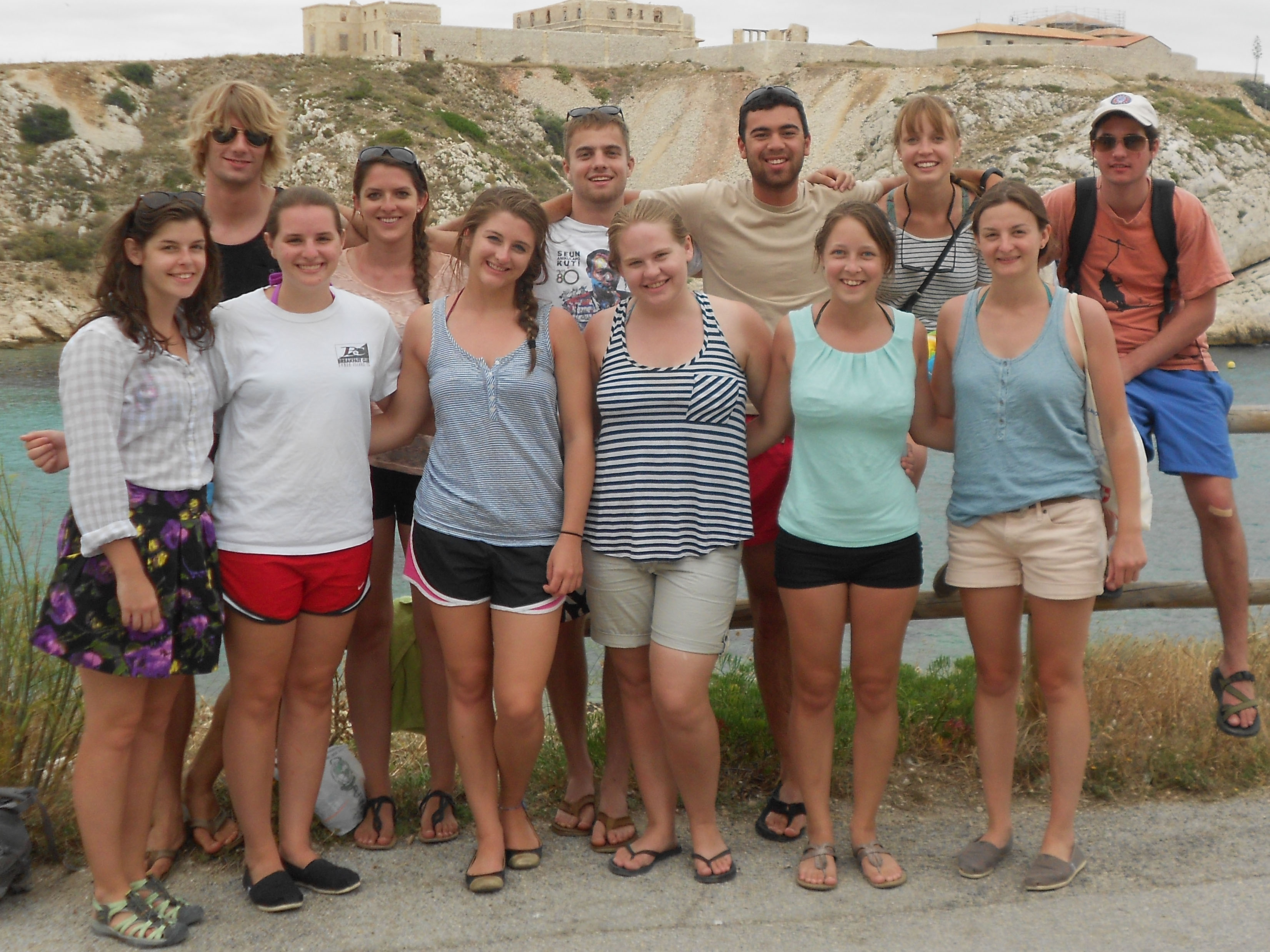 Group of students visit one of the Frioul Islands