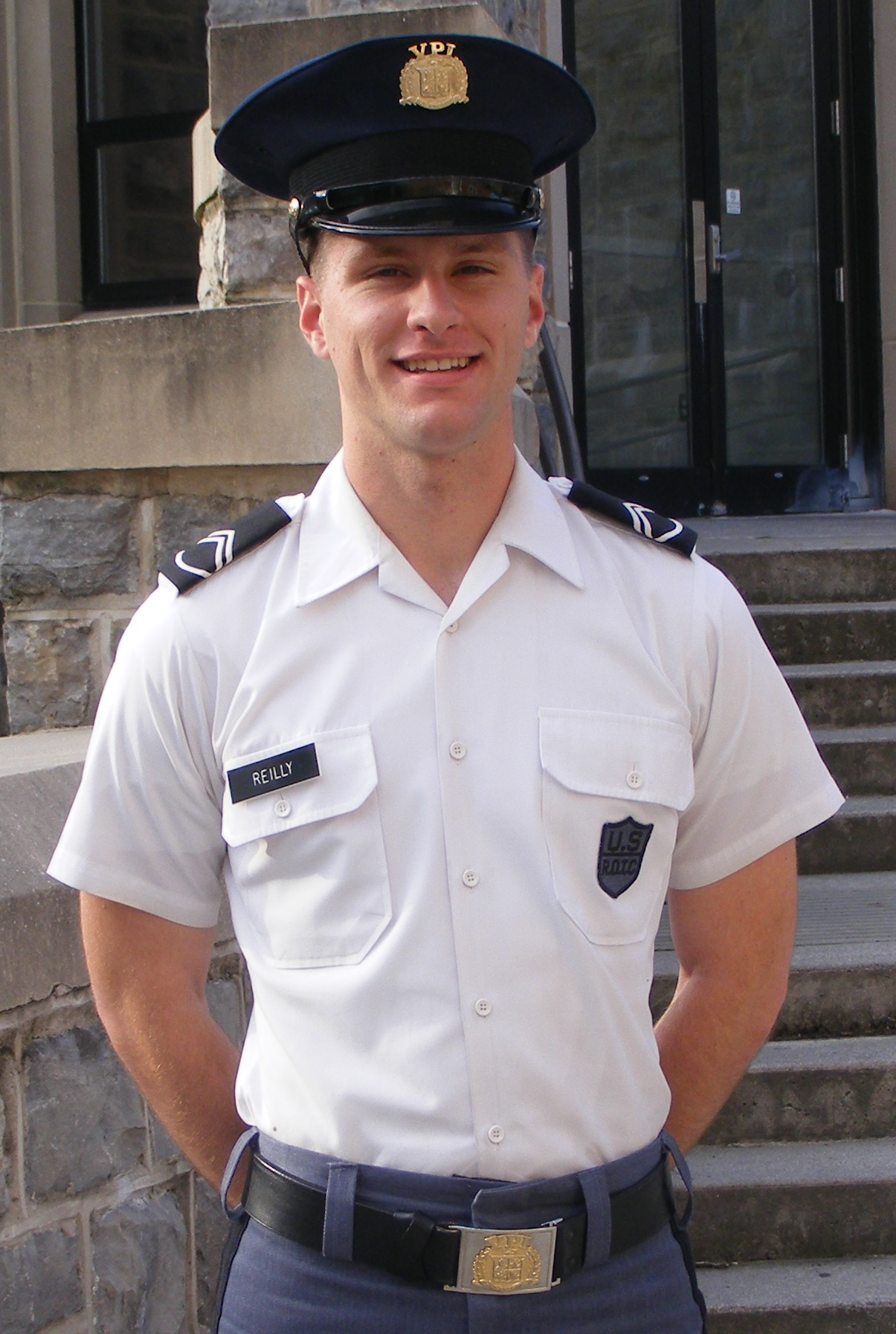 Cadet Mike Reilly in front of Torgersen Hall