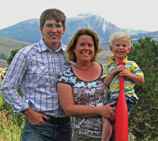 Virginia Tech alumni George Bumann and Jenny Golding with their son, George, are at home in Yellowstone National Park.