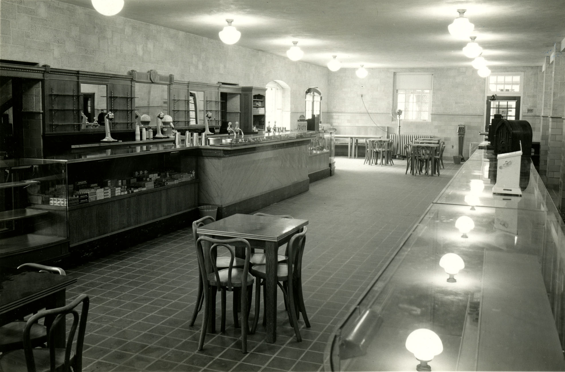 History photo of a snack bar in Squires Student Center