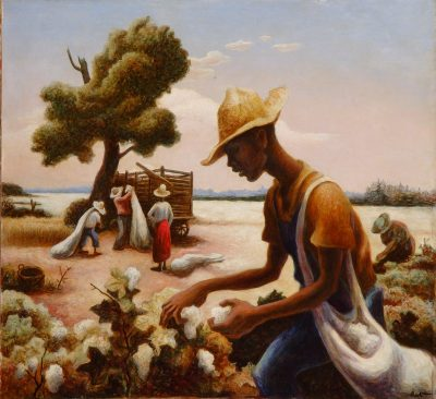 Painting of cotton pickers working in a field.