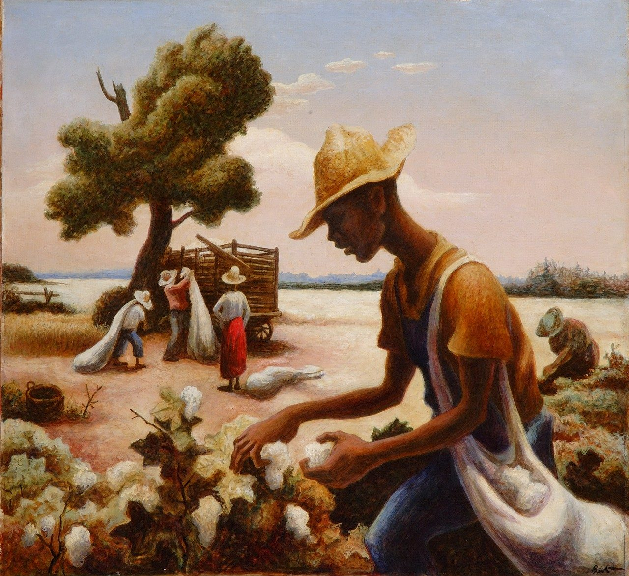 "A view of Thomas Hart Benton's, ""The Cotton Pickers,"" tempera on masonite, circa 1943. The painting was acquired by the Taubman Museum of Art with funds provided by Horace G. Fralin Charitable Trust.
