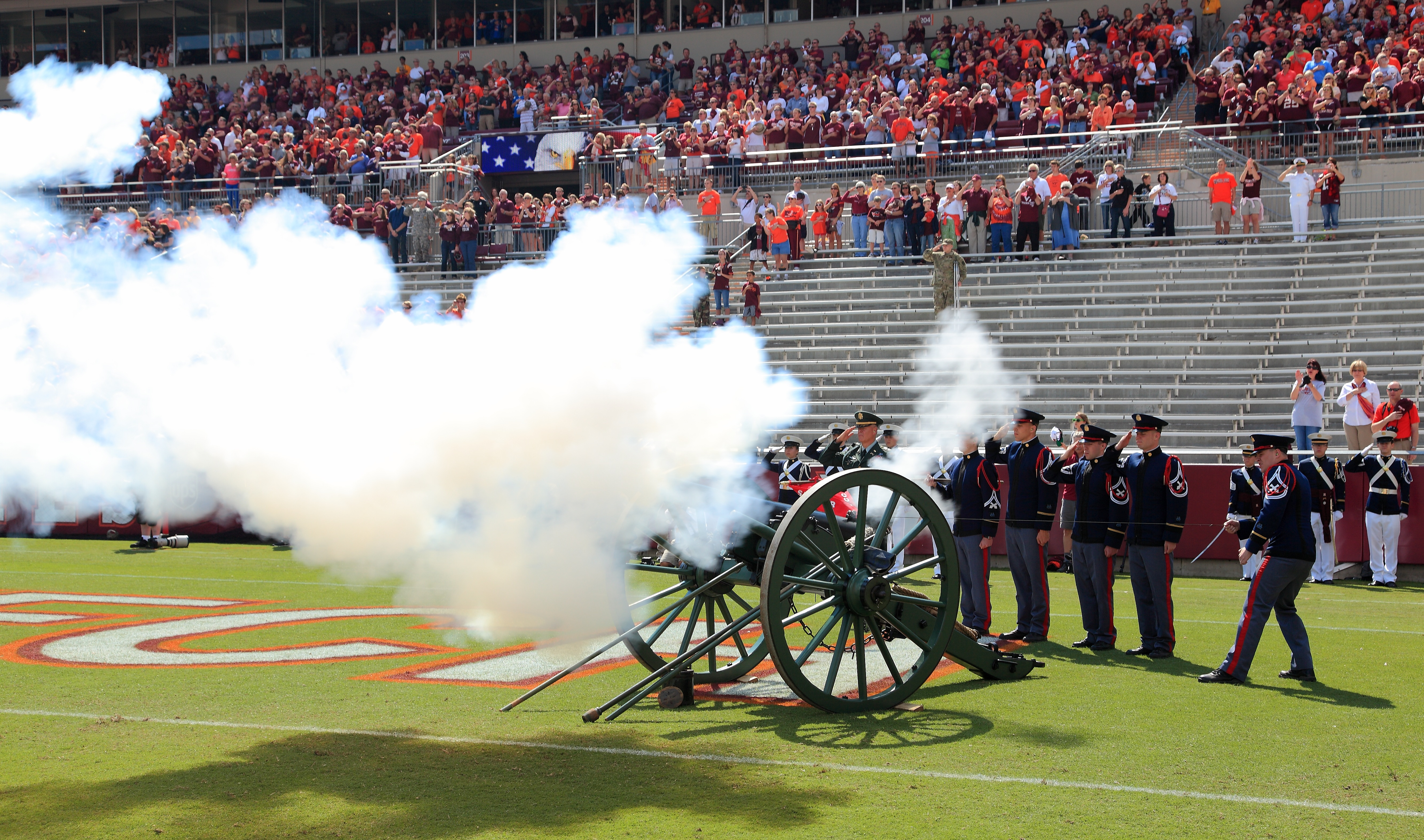 Skipper, the Corps of Cadets cannon, fires at the end of the national anthem prior to kickoff of the Bowling Green game in Lane Stadium.