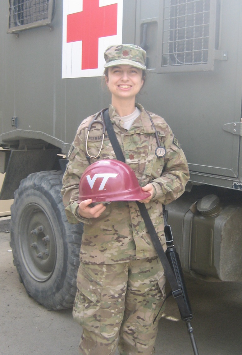 Lt. Cmdr. Faye Rozwadowski, U.S. Navy, Virginia Tech Corps of Cadets Class of 2001 in Afghanistan.