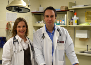 Dr. Shawna Klahn (left) and Dr. Nick Dervisis (right) launched a new oncology service at the Veterinary Teaching Hospital.