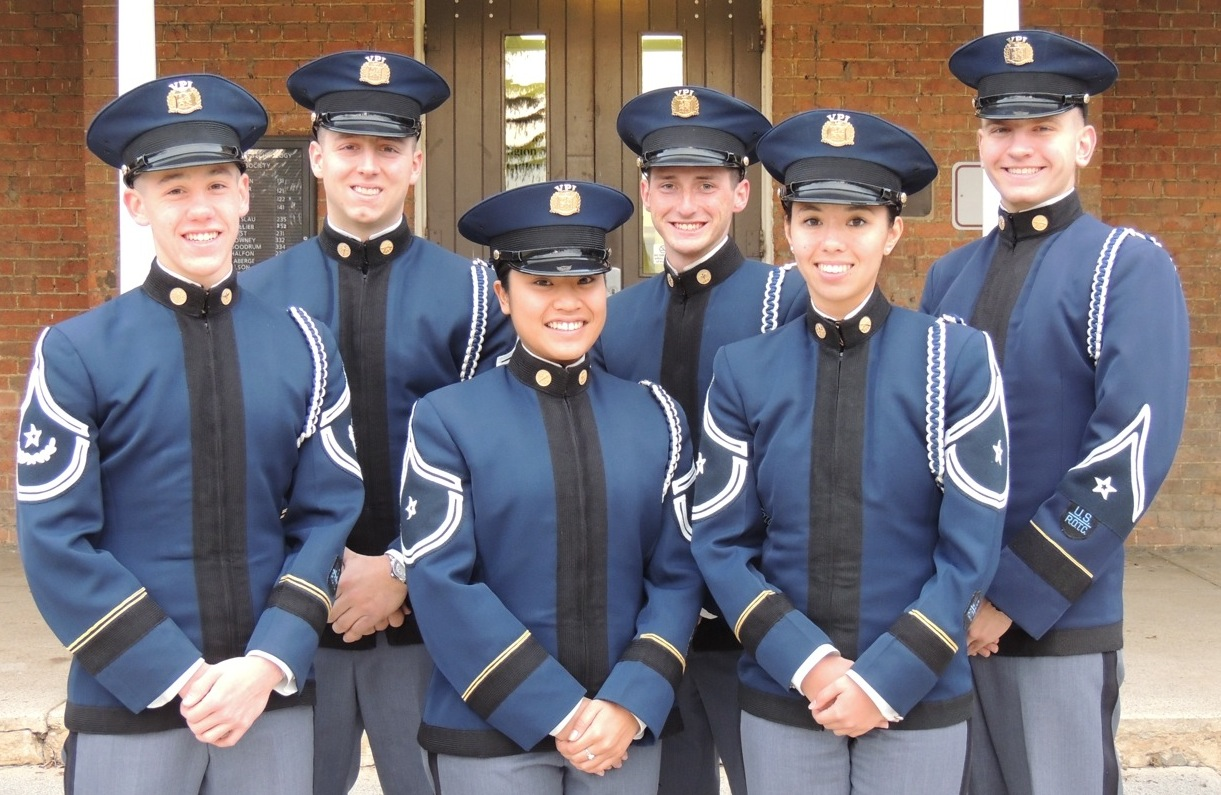 From left to right are Cadets Ryan Hager, Evan Baker, Ian Tillotson, Zachary Bird, Catherine Grizzle, and Joanna Cruz in front of Lane Hall.