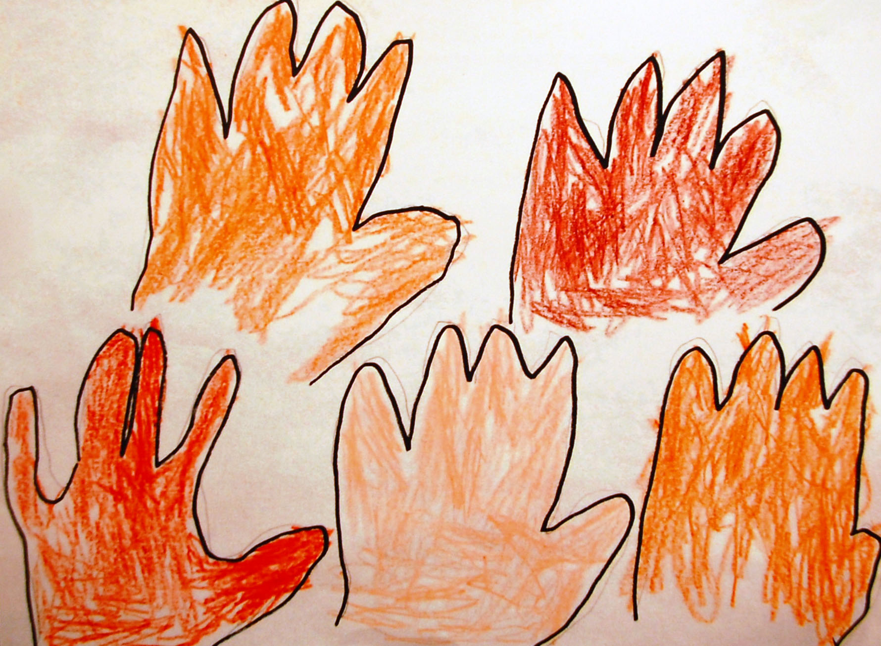 Child's crayon drawing of hands