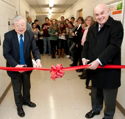 Cell culture lab ribbon cutting