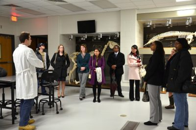 Prospective students and their guests tour the vet college.