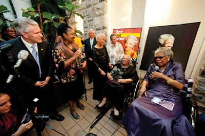 Joanne Gabbin of James Madison University, Robert Vaughan of the Virginia Foundation for the Humanities, and Virginia Tech's Nikki Giovanni and Virginia Fowler welcomed Toni Morrison and Maya Angelou to campus.
